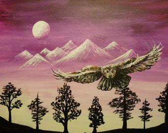 Owl Flying Above Forest and Mountains
