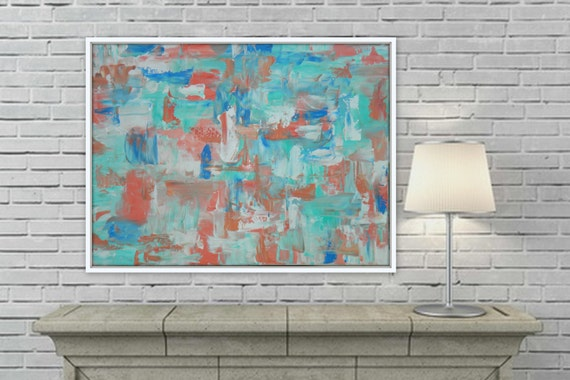 Large turquoise coral pink/ orange/ peach abstract painting by Marcy Chapman 48 x 36 Original artwork wall decorUnstretched canvas painting