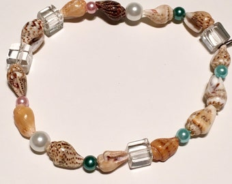 Blue and pink shell bracelet