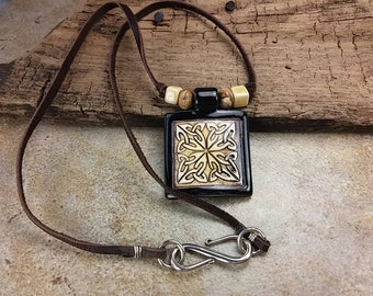 Square Porcelain Pendant Necklace with Celtic Tribal Design, Brown, Black, Cream, Brown Leather, Sterling Silver