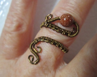 Wrap ring, Brass Ring, Wire Weave Ring, Brass Wire Ring, Adjustable Ring, Knuckle Ring, The Bead Pad