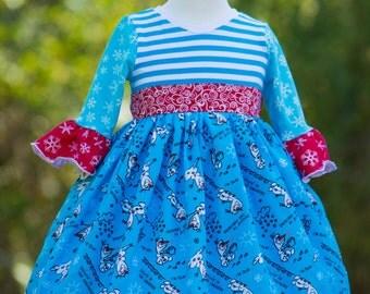 Handmade Silly Snowman Holiday Dress, Christmas Dress, 4T Dress, Blue Dress, Long Sleeve Dress, Winter Dress, Long Dress, Ruffle Dress