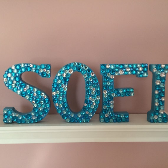 customizable rhinestone wooden letter and number 4 inch