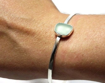 Seafoam Green Sea Glass Bangle Bracelet