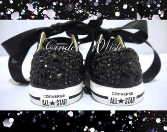 Midnight sparkles / Infant Black all over converse / Sparkly Converse / Gemstone Converse / Kids Converse / Prom Converse / Wedding converse
