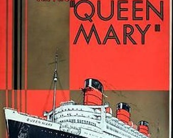 Vintage Cunard White Star Queen Mary Shipping Line Poster A3 Print