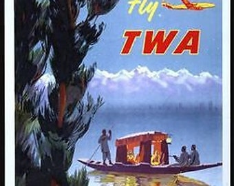 Vintage TWA flights to India Poster A3 / A2 Print