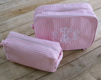 Large Cosmetic Bag- Cotton Waffle weave with Monogram