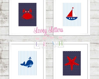 Nursery wall art, Nautical Digital Art, Nautical Nursery, Nautical Download, Boys Nautical Art, Red Navy Nautical  Art, Boys Nursery Decor