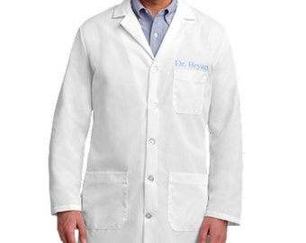 Unisex Embroidered White Lab Coat