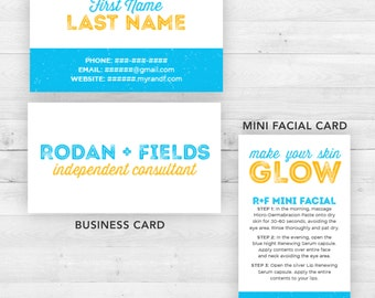 Rodan and Fields Business and Mini Facial Cards   Customized Printable