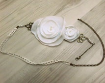 "Headband marriage ""light petal"" flower in muslin ivory and lace"