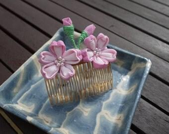 Tsumami Kanzashi Japanese sakura comb