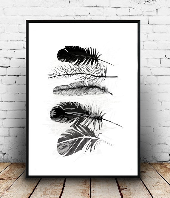 Minimalistic Feathers Boho Art Painting Room Decor Typographic
