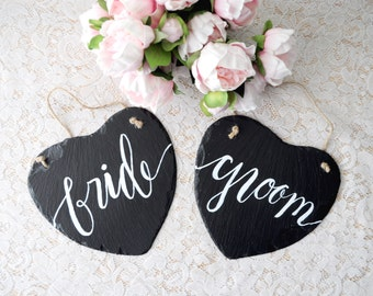 Slate Heart Bride Groom Chair Signs Hand Painted Slate Wedding Chair Signs Natural Slate Sign Mr Mrs Chair Signs Chalkboard Garden Wedding