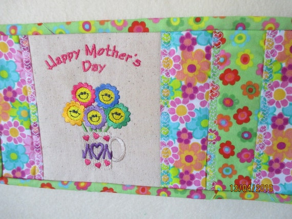 Happy Mothers Day Mug Rug Mother Flowers Reversible Home