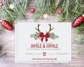 Holiday Party Invitation | Printable or Printed | Christmas Party | Jingle & Mingle | Antlers | Enveloeps Included