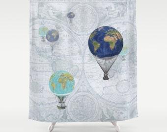 Hot Air Balloons Shower Curtain - Fanciful World Flight - Globes, airships, dreamy, pastels, world map, travel decor