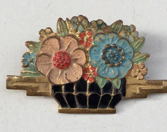 Pretty 1940s era Brass & Enamel Flower Basket Costume Brooch