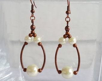 Antique Copper Dangle Earrings with White Glass Pearls