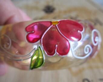 Chunky Floral Resin Bangle Bracelet Faceted