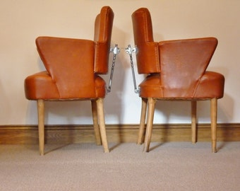 SOLD Pair of original vintage barbers chairs. Retro chairs, Mid century, leather chairs, armchair, office chair, desk chair.