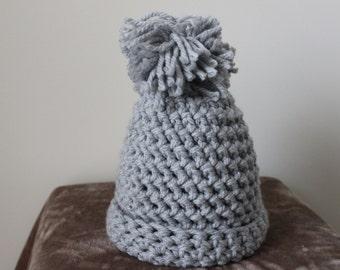 Chunky Pom Pom Beanie/ Crochet Pom Pom Beanie/ Chunky Crochet Hat/ Beanie Hat/ Crochet Pom Pom Hat/ Pom Pom Beanie/ Chunky Crochet Beanie