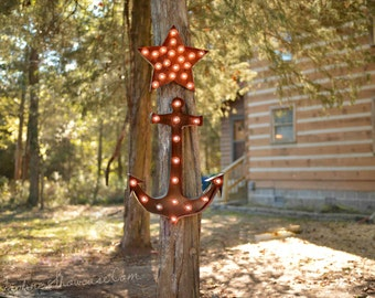 Marquee letter, marquee sign, Lighted Metal MARQUEE SIGN, Marquee Anchor sign, Marquee Light Fixture: Anchor
