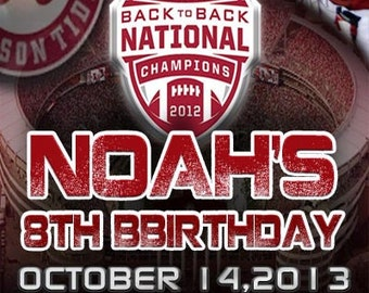Alabama Crimson Tide Birthday Party Invitation