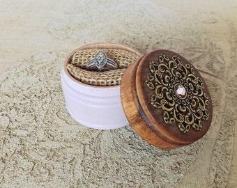 Wedding ring box - engagement ring box- shabby chic ring box - proposal ring box