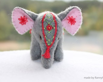 Mothers Day gifts Felt Elephant Spring gifts April finds Indian elephant embroidery miniature felt decoration gray for the home for her