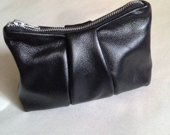 Black Leather Clutch Soft Glossy Skin with Chunky Metal Zipper Rock n Roll Handbag