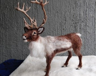 Needle Felted Wool Animal Reindeer Caribou Created by Carol Rossi