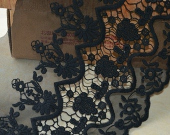 2 yards White Black Tulle Lace Trim Cotton Floral Embroidered Lace 7.87 Inches Wide