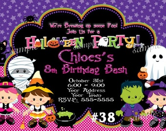 HALLOWEEN Birthday Invitation Girl or Boy, Kids Halloween Party Invitation, Costume Party Invitation, Halloween Birthday Party Invitations
