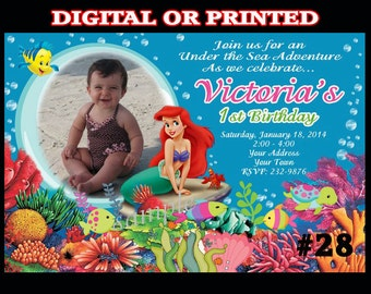 Ariel The Little Mermaid Birthday Party Invitation with Photo - You Print or Printed Ariel Invitation Birthday Party