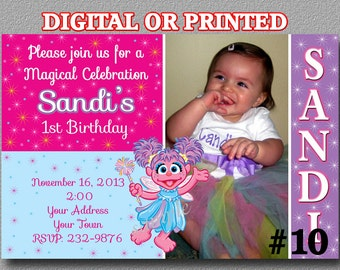 Abby Cadabby Invitation Birthday Party - Sesame Street Printable YOU Print Digital File or PRINTED with photo/ Birthday Party Invitation