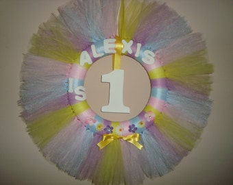 Birthday personalized tutu wreath, spring colors with flowers and bow, can do custom colors!