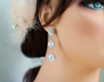 Long wedding earrings - crystal earrings - silver wedding jewelry - dangle bridal earrings - teardrop bridal earrings - statement earrings