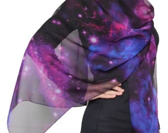 Beautiful Nebula Galaxy little Twinkle Stars Print Chiffon Scarf  Purple