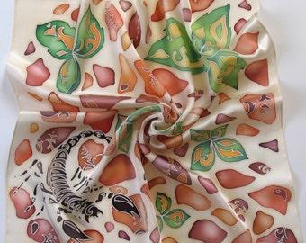 silk scarf Scorpio , hand painted scarf, designer scarf, silk scarves , hand painted scarf