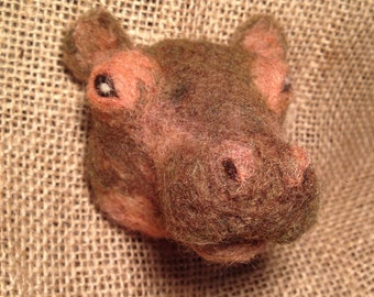 Hippo brooch - needle felted animal badge