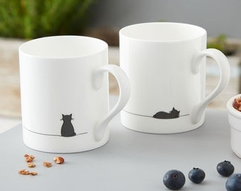 Sitting Cat and Sleeping Cat Mug - Set of Two Fine Bone China Mugs, Designed and Hand-decorated in the UK, Gift for Cat Lovers