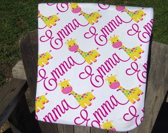 Giraffe Personalized Baby Blanket - Giraffe Receiving Blanket - Giraffe Name Blanket for Girls - Infant Swaddling Blanket - Baby Shower Gift
