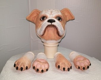 Bulldog Doll Head and Paws