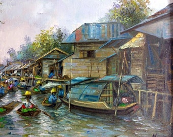 Vintage Artist Signed Thailand Impressionist Boat Market Landscape Oil Painting