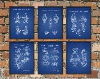 Lego Patent Print Set Of 6 - Lego Bedroom Wall Art Poster - Building Brick Art - Lego Toys - Lego Gift Idea - Lego Print