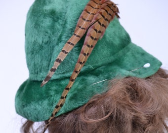 vintage 70s MR JOHN Fedora Hat | Green FEATHER Races Derby Pharrell Church Wide Brim Floppy Hat | New Old Stock
