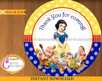 Snow White and the Seven Dwarfs Tags - Sticker- Favors - Snow White Favor Tags - Party - Birthday - Printable - INSTANT DOWNLOAD