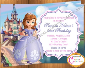 Sofia The First Invitation -Princess Sophia Invite - Disney Sofia The First Party Invites - Birthday Party -CUSTOMIZABLE- CraftyCreationsUAE